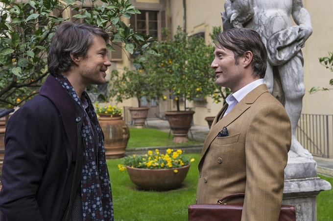 """HANNIBAL -- """"Antipasto"""" Episode 301 -- Pictured: (l-r) Tom Wisdom as Anthony Dimmond, Mads Mikkelsen as Dr. Hannibal Lecter -- (Photo by: Brooke Palmer/NBC)"""