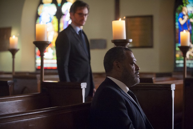 "HANNIBAL -- ""Aperitivo"" Episode 304 -- Pictured: (l-r) Hugh Dancy as Will Graham, Laurence Fishburne as Jack Crawford -- (Photo by: Brooke Palmer/NBC)"