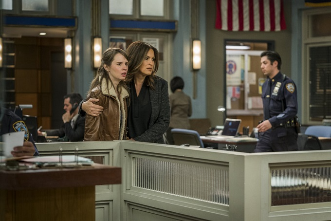 """LAW & ORDER: SPECIAL VICTIMS UNIT -- """"Sheltered Outcasts"""" Episode 1719 -- Pictured: (l-r) Molly Camp as Mary Colten, Mariska Hargitay as Olivia Benson -- (Photo by: Michael Parmelee/NBC)"""