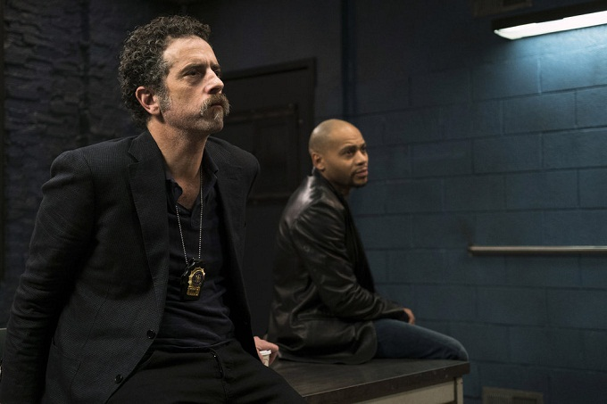 "LAW & ORDER: SPECIAL VICTIMS UNIT -- ""Manhattan Transfer"" Episode 1717 -- Pictured: (l-r) John Ales as Det. Tom Russo, J.D. Williams as Det. Anton Jefferson -- (Photo by: Michael Parmelee/NBC)"