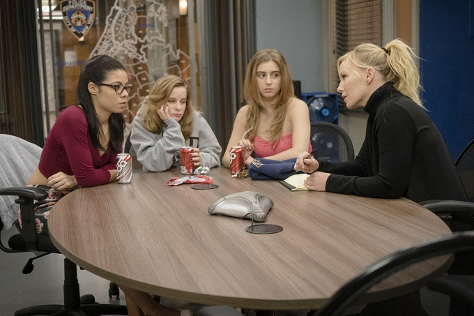 "LAW & ORDER: SPECIAL VICTIMS UNIT -- ""Manhattan Transfer"" Episode 1717 -- Pictured: (l-r) Yainis Ynoa as Danielle Backerly, Rebecca Gruss as Natalia Diaz, Maggie Borlando as Margaret Kenswick, Kelli Giddish as Amanda Rollins -- (Photo by: Michael Parmelee/NBC)"