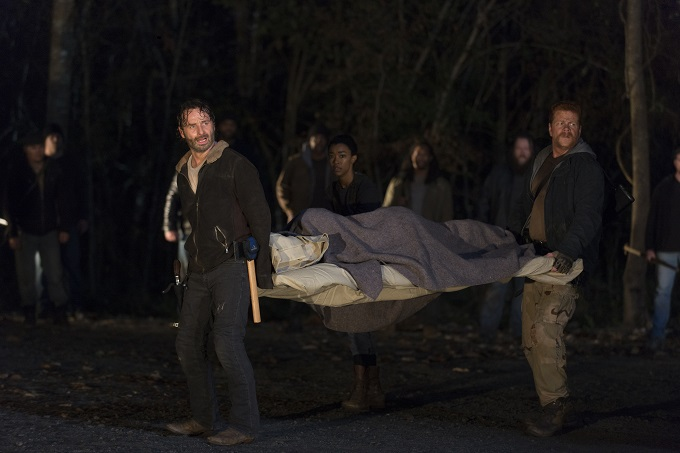 Andrew Lincoln as Rick Grimes; Michael Cudlitza as Sgt Abraham Ford; Sonequa Martin-Green as Sasha - The Walking Dead _ Season 6, Episode 16 - Photo Credit: Gene Page/AMC