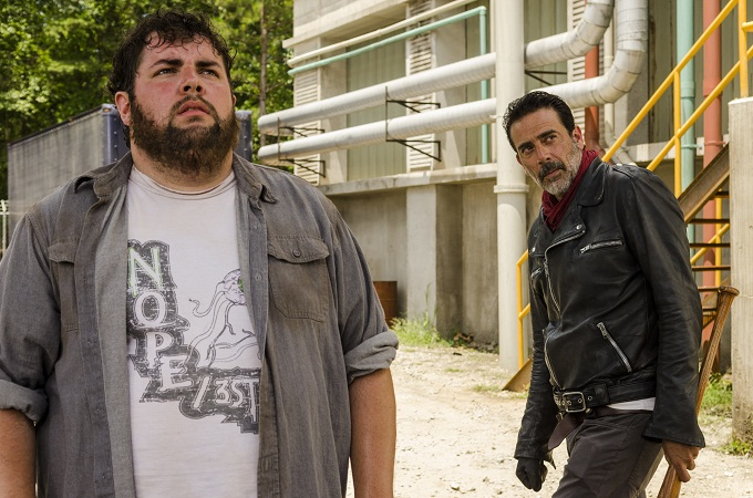 Jeffrey Dean Morgan as Negan, Joshua Hoover as Fat Joey - The Walking Dead _ Season 7, Episode 7 - Photo Credit: Gene Page/AMC