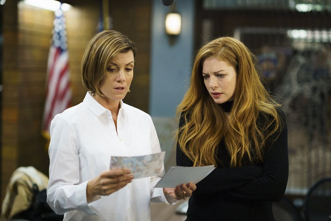 """LAW & ORDER: SPECIAL VICTIMS UNIT -- """"Chasing Theo"""" Episode 1813 -- Pictured: (l-r) Zoe McLellan as Dr. Fran Conway, Rachelle Lefevre as Nadine Le Doux -- (Photo by: Michael Parmelee/NBC)"""