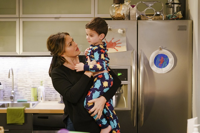 """LAW & ORDER: SPECIAL VICTIMS UNIT -- """"Chasing Theo"""" Episode 1813 -- Pictured: (l-r) Mariska Hargitay as Lieutenant Olivia Benson, Jack Nawada-Braunwart as Noah Benson -- (Photo by: Michael Parmelee/NBC)"""
