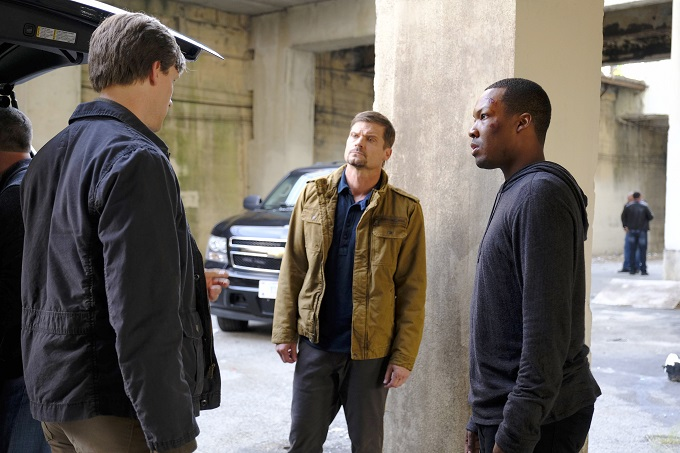 "24: LEGACY: L-R: Teddy Sears, guest star Bailey Chase and Corey Hawkins in the ""2:00 PM-3:00 PM"" episode of 24: LEGACY airing Saturday, Feb. 18 (8:00-9:00 PM ET/PT) on FOX. ©2017 Fox Broadcasting Co. Cr: Guy D'Alema/FOX"