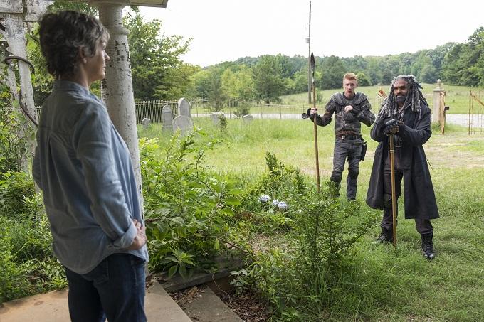 Melissa McBride as Carol Peletier, Daniel Newman - Daniel, Khary Payton as Ezekiel- The Walking Dead _ Season 7, Episode 10 - Photo Credit: Gene Page/AMC