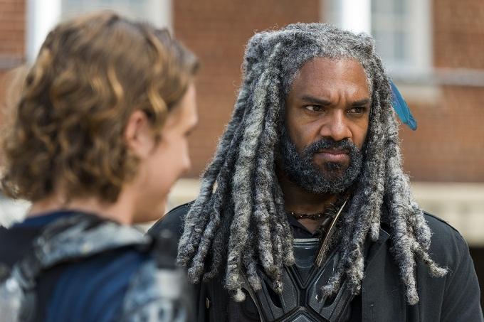 Khary Payton as Ezekiel, Logan Miller as Benjamin- The Walking Dead _ Season 7, Episode 10 - Photo Credit: Gene Page/AMC