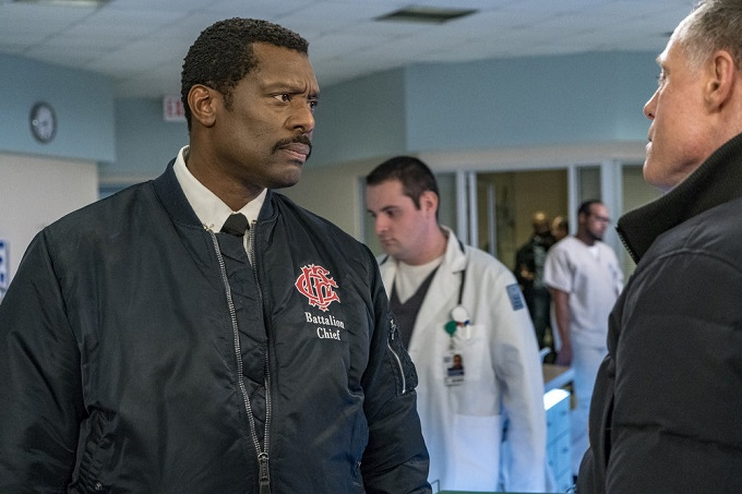 "CHICAGO FIRE -- ""Deathtrap"" Episode 516 -- Pictured: Eamonn Walker as Wallace Boden -- (Photo by: Matt Dinerstein/NBC)"