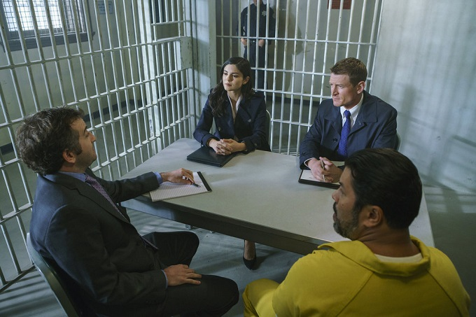 "CHICAGO JUSTICE -- ""Uncertainty Principle"" Episode 107 -- Pictured: (l-r) Monica Barbaro as Anna Valdez, Philip Winchester as Peter Stone -- (Photo by: Parrish Lewis/NBC)"